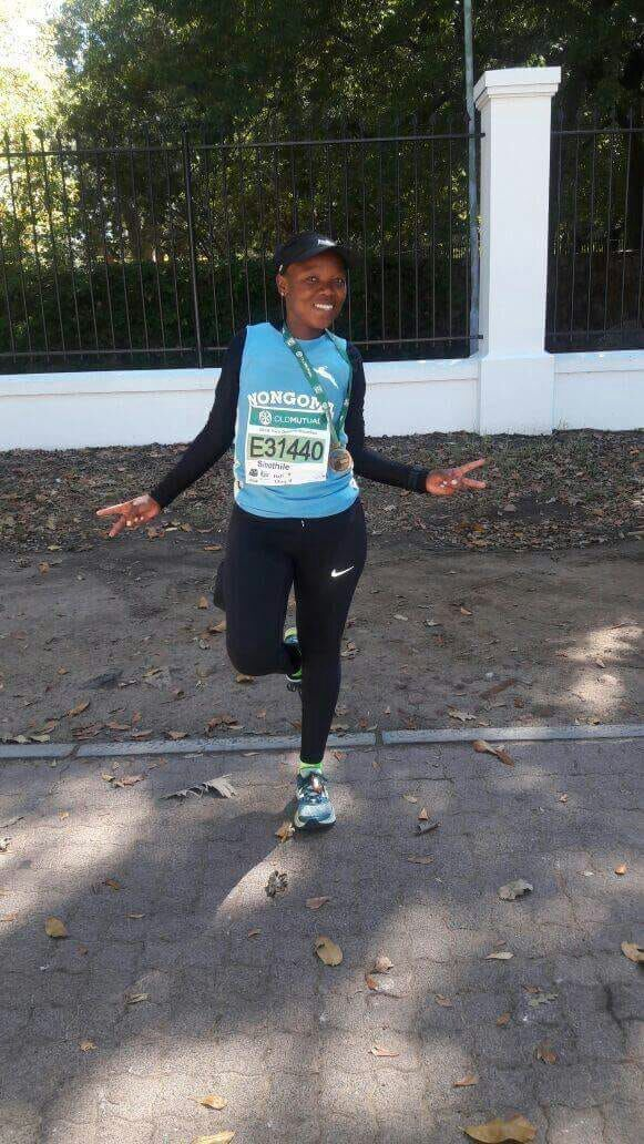 Celiwe Msomi after finishing the 2018 Two Oceans Marathon in Cape Town.