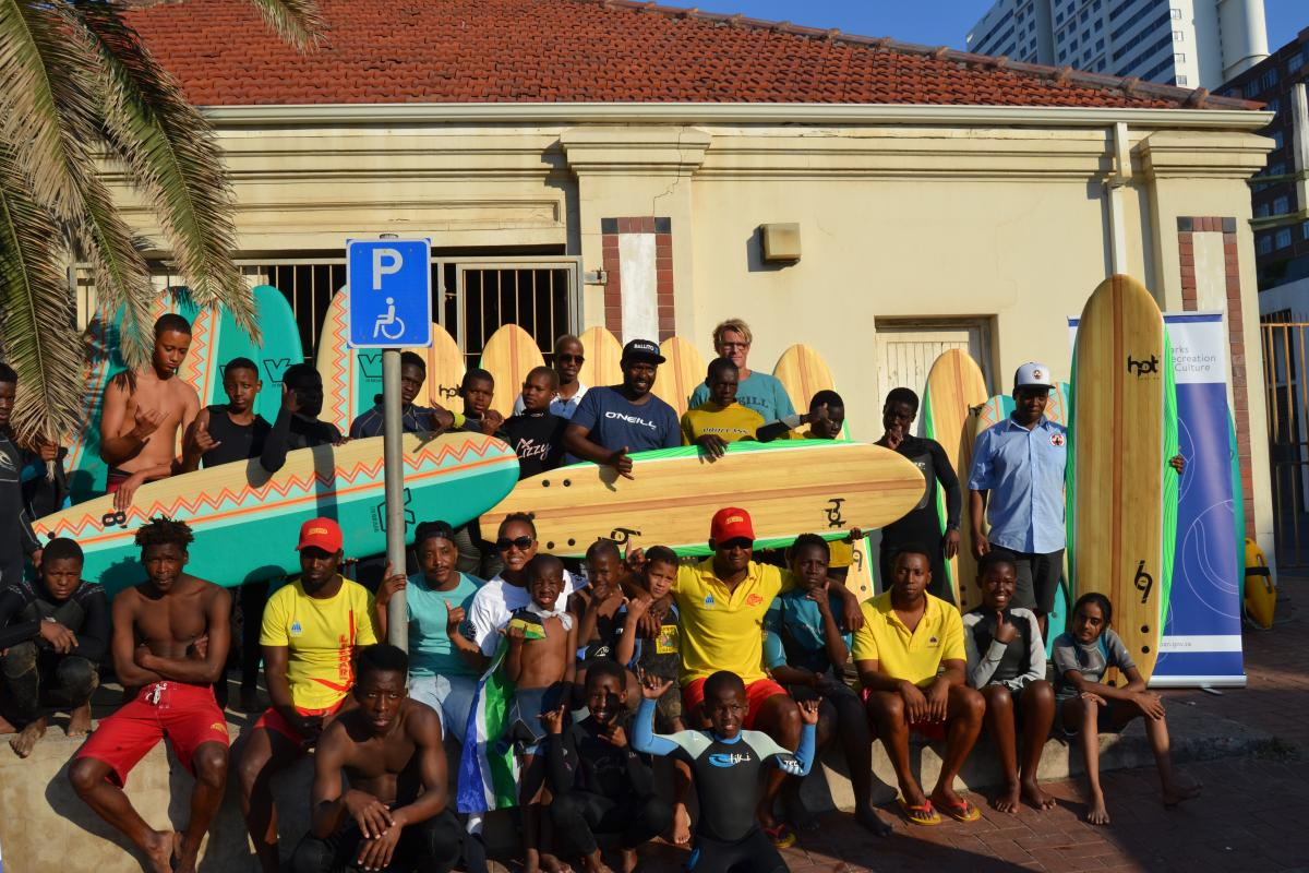 Some of the surfers from the Surfers Not Street Children and KZN Surfing Club who received surf boards. The boards will be used for development purposes.
