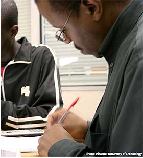 Ex combatants get training in skills like basic bookkeeping and computer skills, financial management, and life skills