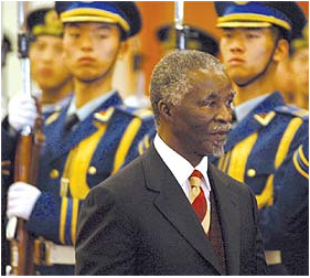President Thabo Mbeki inspects a Chinese guard of honour during a state visit to China.