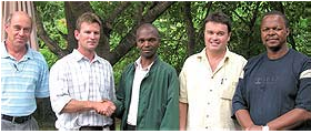 Members of the team working together on Sandford farm are from left: Dave Arkwright, Jack Brotherton, Henry Maboa, Geoff de Beer and Riebs Khoza
