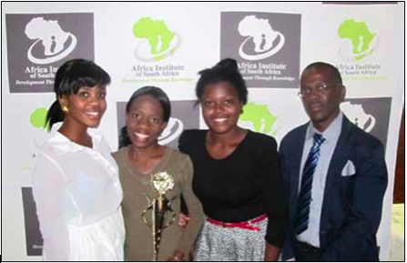Photo caption: Lindelani Mukhovha, Marvellous Ndhlovu, Naledi Modise and Simphiwe Ngwane have been rewarded with a trip to the University of Cambridge after excelling at the 2013 Africa Institute of South Africa's Young Graduates and Scholars Conference.