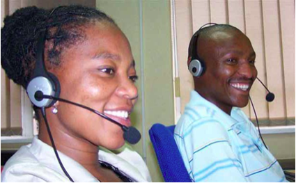 Photo caption: Itumeleng Motaung (left) and Pule Katane are among the call centre agents at the Legal Aid Advice Line who offer legal advice to the thousands of South Africans who call in.