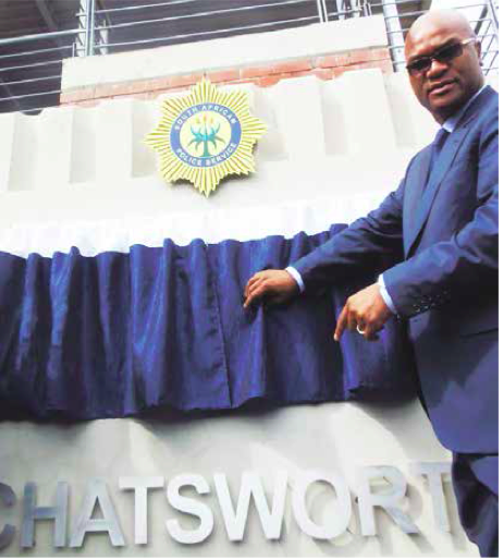 The then Minister of Police Nathi Mthethwa, who is the current Minister Arts and Culture, at the official hand over of the new-look Chatsworth Police Station in KwaZulu-Natal.