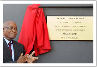 President Jacob Zuma opened the newly refurbished Kensington High School in Cape Town. The school forms part of the Accelerated Schools Infrastructure Delivery Initiative.
