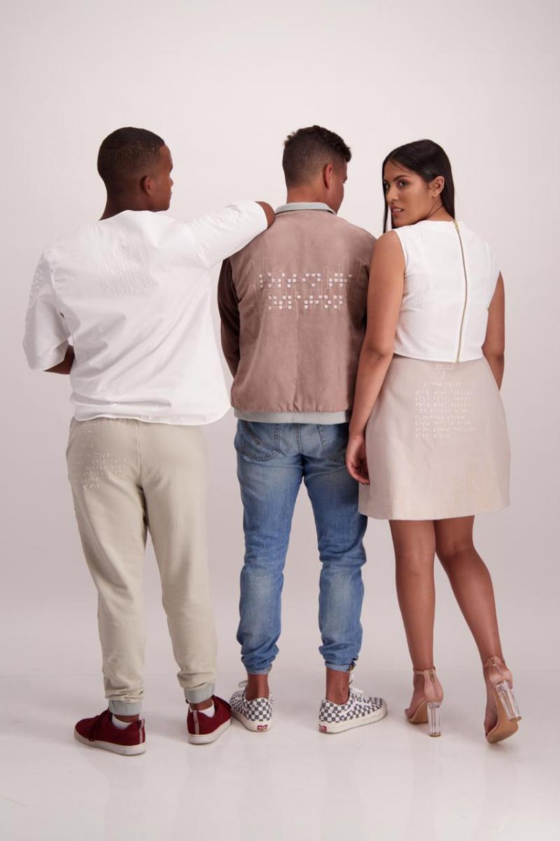 Balini Naidoo created a braille identification system printed on clothing. This system provides information on the colour, size and clothing item.