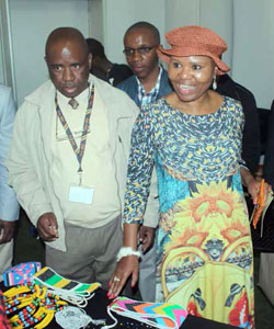 Minister of Small Business Development Lindiwe Zulu interacts with cooperatives at an exhibition held during International Cooperative Day.