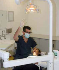 Lele Mabela receives dental attention from Dr Tynan McArthur at the recently opened Zola-Jabulani District Hospital.