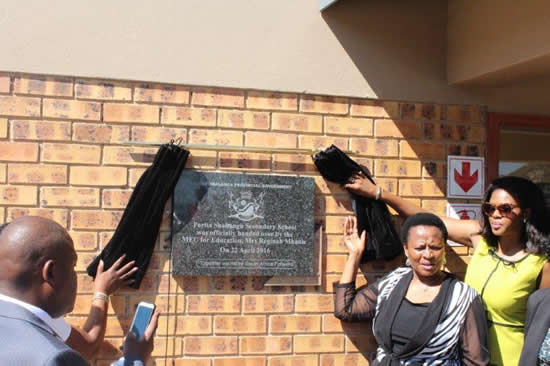 Mpumalanga Education ME C Reginah Mhaule recently opened a new school in Thekwane South.