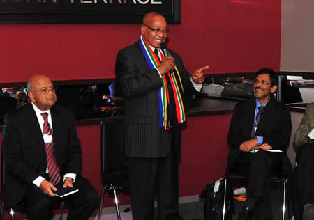 President Jacob Zuma at the World Economic Forum in Switzerland with Finance Minister Pravin Gordhan (left) and Economic Development Minister Ebrahim Patel. President Zuma told the forum that there were enormous business opportunities in South Africa.