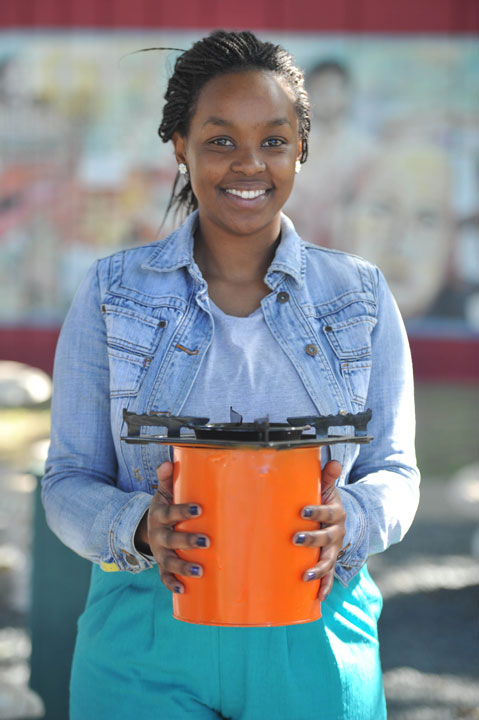 Luthando Msomi with her portable cookware.