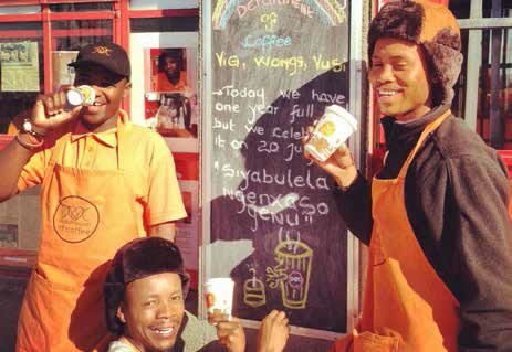 Vusumzi Mamile (from left), Vuyile Msaku and Wongama Baleni are giving Khayelitsha a whole new coffee drinking experience thanks to their upmarket coffee shop – Department of Coffee.