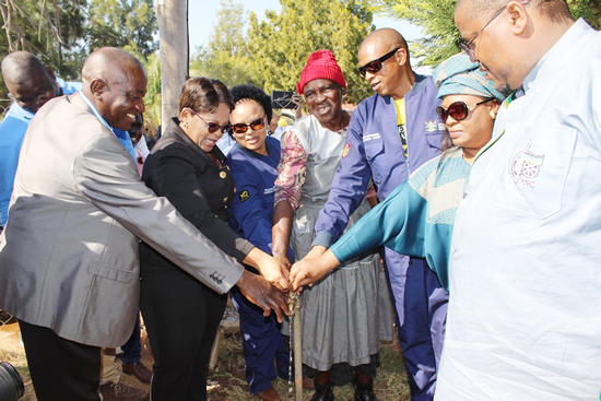 Minister of Water and Sanitation Nomvula Mokonyane, Premier of North West Supra Mahumapelo, and MECs at the opening of the Jericho Rural Water Supply Project.