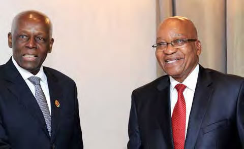 President Jacob Zuma with Angolan President José Eduardo dos Santos in Angola, where they attended the Ordinary Summit of the International Conference of the Great Lakes Region.