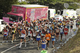 The Pink marathon helps to rasie money for breast cancer research.
