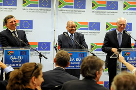 President Jacob Zuma with European Commission President Jose Manuel Barroso and European Council President Herman van Rompuy.