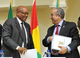 President Jacob Zuma and Chairperson of the AU Commission Dr Jean Ping at the AU High Level Ad Hoc Committee meeting on Libya held on 26 June 2011.
