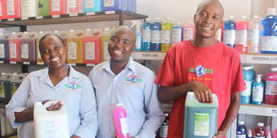 Charlene Mazibuko, Collen Zwane and Siyabonga Skhosana are the brains behind Mnandi Global Cleaning Services, a company that provides chemical cleaning supplies to businesses and schools in Lekazi and neighbouring towns.