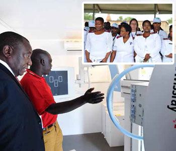Deputy President Cyril Ramaphosa inspects a TB screening machine. More than 200 health workers have been trained on drug resistant TB medication.