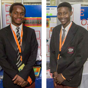 Caleb Kirui (left) and Fortune Mantsho have designed a robot to extinguish fires.