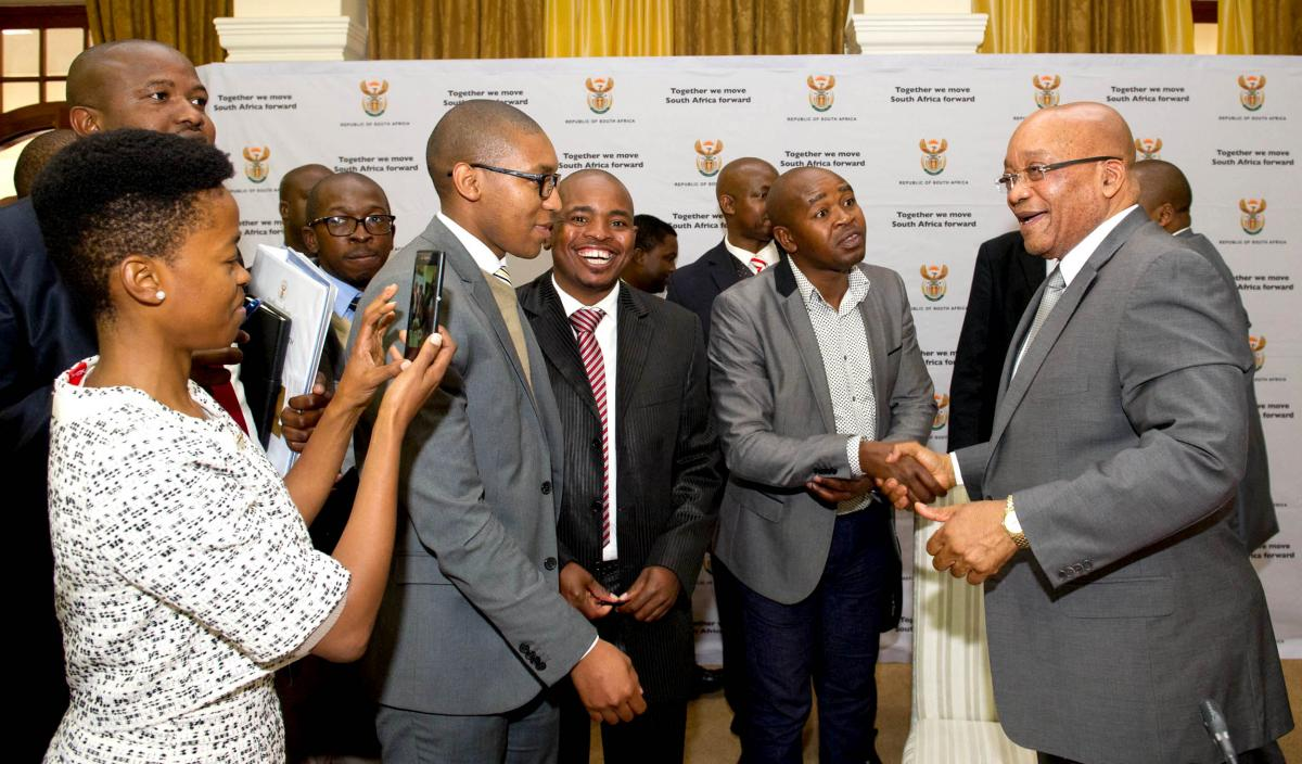 President Jacob Zuma interacts with young people at the launch of the Presidential Youth Working Group. The programme aims to mainstream youth development and empowerment in the work of government.