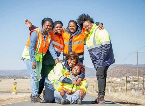 Business owners, from left Cynthia Tshabalala, Thembisa Ceke, Ncumisa Simayile, and Nontuthuzelo Feni-Masala and (seated left) Boniswa Wakhe and Nomfuneko Bojana employ local residents to work on SANRAL projects in Whittlesea in the Eastern Cape.