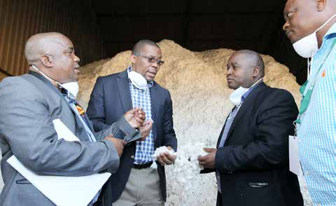 From Left: Makhathini Cotton Gin Project Leader Mr Phineas Gumede,KZN MEC for Agriculture and Rural Development Mr Cyril Xaba,Deputy Minister for Rural Development and Land Reform Mr Mcebisi Skwatsha and Makhathini Cotton Gin Manager Mr Charles Kekota at a cotton process plant.