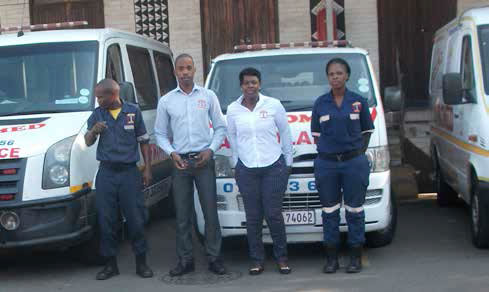 S'thembiso Ngubo (centre left) and Nelly Ngcobo (centre right) with two of their employees Simo Sabelo and Sebenzile Mbatha.