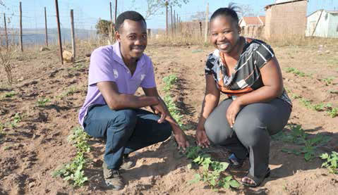 Busisiwe Mntungwa (right) has found an innovative way to save water.