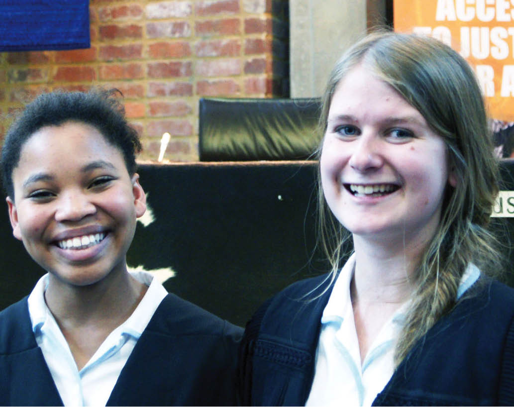 Clara-Marie Macheke and Claire Rankin two of the team of eight that won the International Schools Moot Court competition.