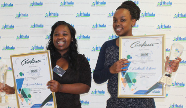 Inkunzi'isematholeni Youth in Business 2015 competition winners Busisiwe Mntungwa and Luthando Msomi.
