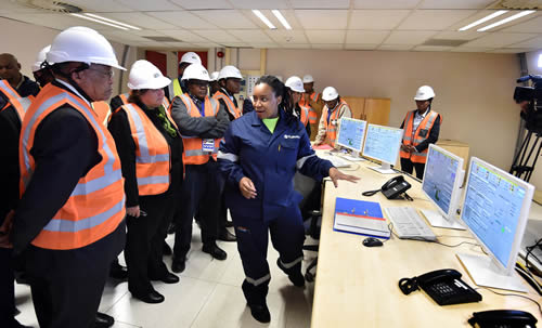 President Jacob Zuma and Public Enterprises Minister Lynne Brown during a tour of Ingula Power Pump Storage Scheme in Ladysmith.