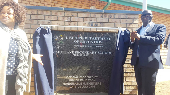 Limpopo MEC for Education Ishmael Kgetjepe during the official opening of Mmutlane Secondary School in Limpopo.