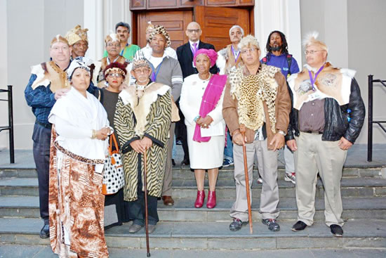 Defence and Military Veterans Minister Nosiviwe Mapisa-Nqakula (centre) with Krotoa's family.