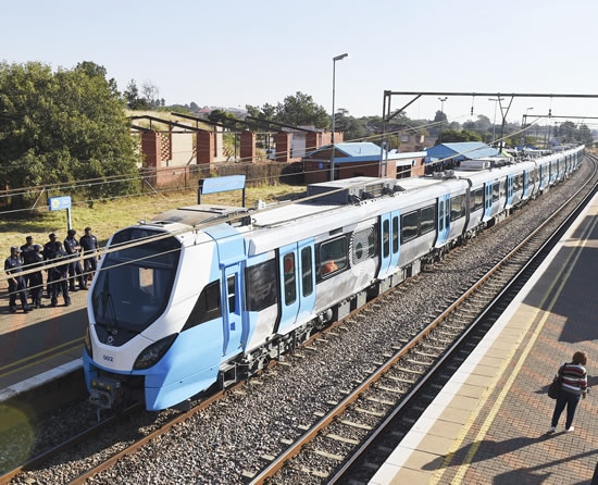 The Passanger Rail Agency of South Africa recieved five new modern passanger Minister. v trains.
