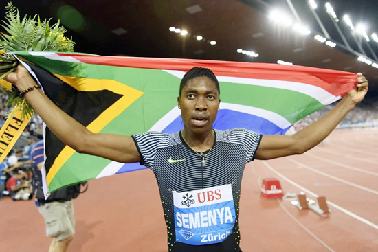 Caster Semenya at the end of 800m International Association of Athletics Federations 2016 Diamond League Race in Zurich where the won the last race of the season.