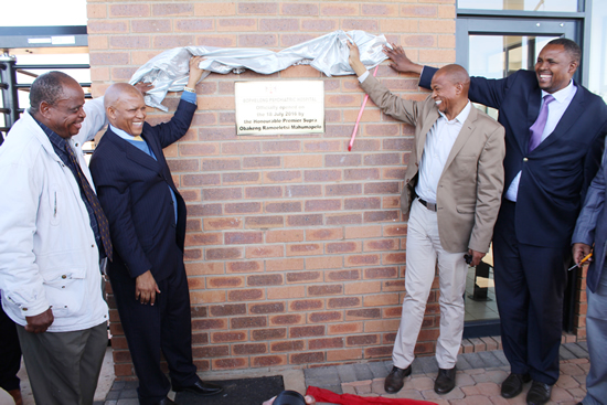 Premier Supra Mahumapelo and Health MEC Dr Magome Masike during the opening of the hospital.