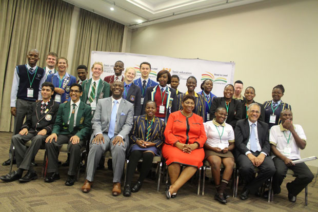 Basic Education Minister Angie Motshekga with the country's top performing learners.