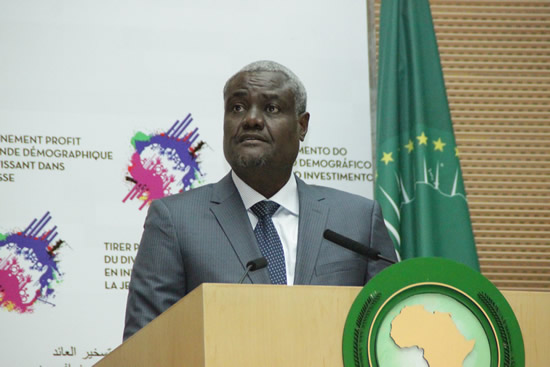 The incoming Chairperson of the African Union (AU) Moussa Faki Mahamat during the handover ceremony at the Nelson Mandela Hall at the AU Headquarters in Addis Ababa.