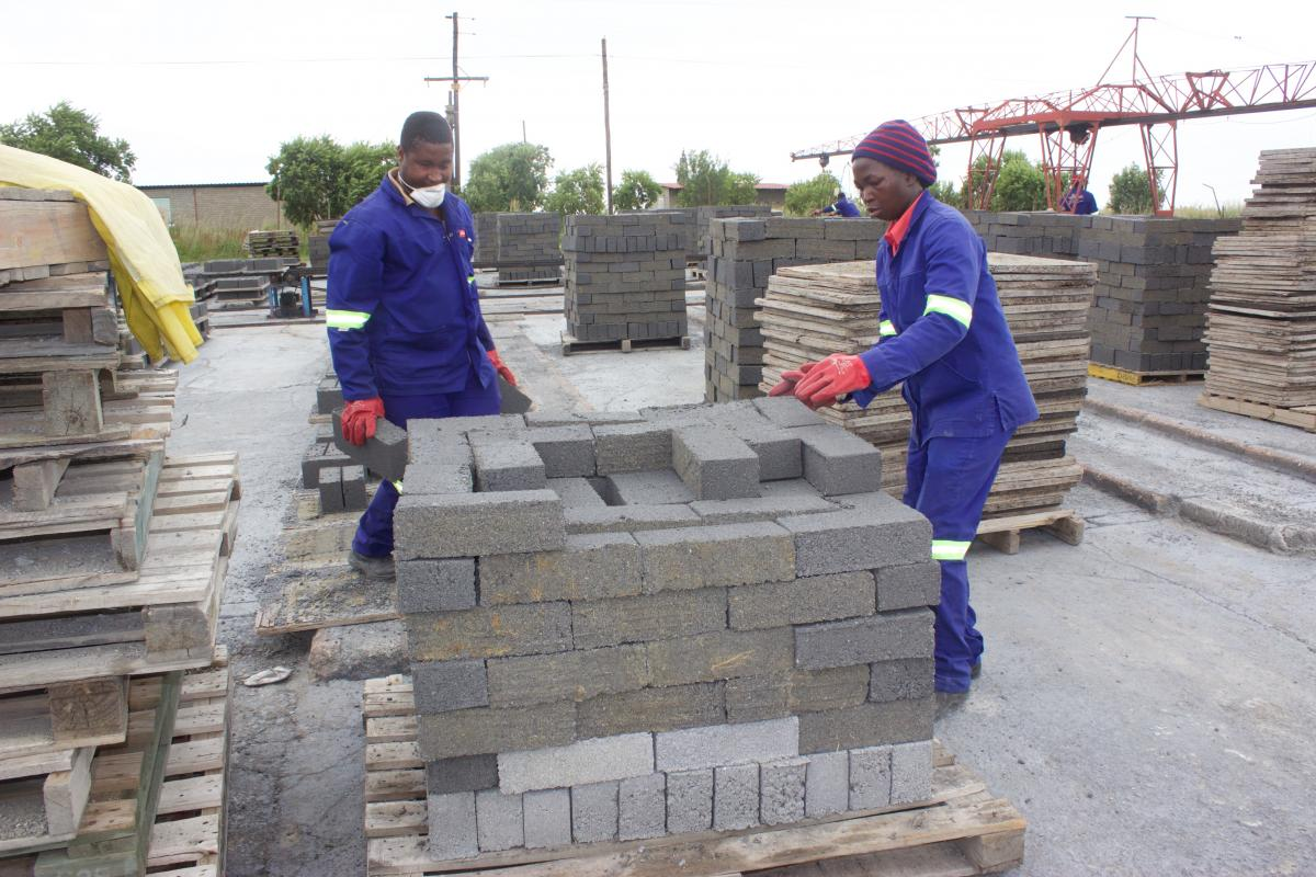 Workers at Mr Brick Factory in Secunda packing bricks to be delivered to local suppliers