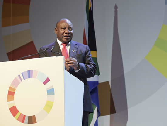 Deputy President Cryil Ramaphosa addressing the Global Entrepreneurship Congress at the Sandton Convention Centre.