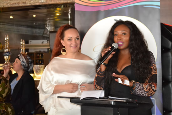 The Founder and CEO of Free State Fashion Week, Candy Smith with actress and businesswoman, Sophie Ndaba.