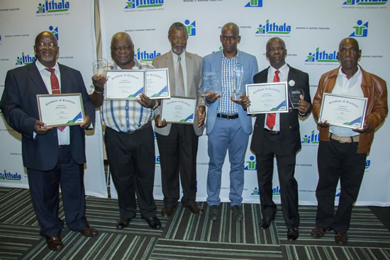 Winners of the Ithala Business Achiever Awards. From left, Thamsanqa Ngcobo from Mlalazi Cooperative, Bonginkosi Ngcobo from Snembe Farm, Zolani Ngangcwana from Yellow Star, Sandile Ntuli from Black Carrot Trading, Bongani Mdlalose from Mlalazi Cooperative and Phumlani Radebe from the Sobantu Agricultural Cooperative.