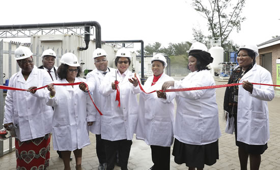 Water and Sanitation Minister Nomvula Mokonyane launches the Richards Bay desalination plant with KwaZulu-Natal government officials. (Image: KZN CoGTA)
