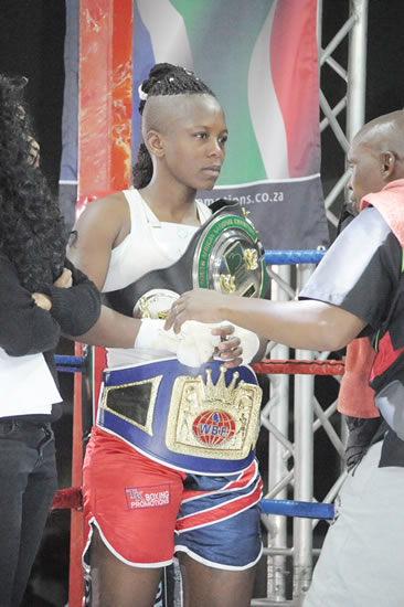 Still the reigning champ… Matshidiso 'The Wasp' Mokebisi.