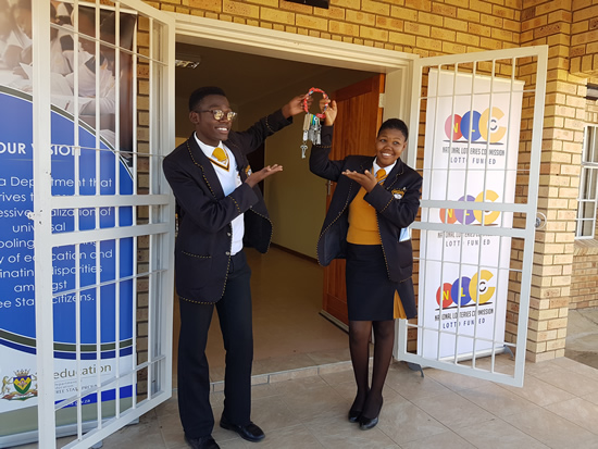 Excited learners at Sediti Secondary School near Thaba 'Nchu celebrate their new hostel. (Photo: Galoome Shopane)
