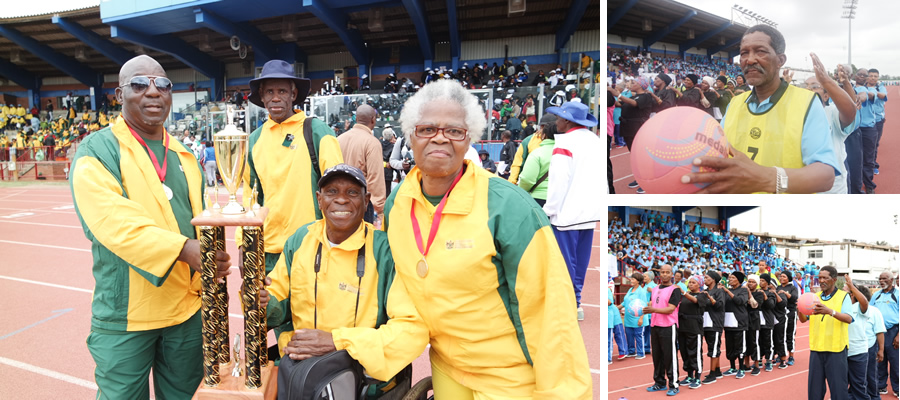 A jubilant KwaZulu-Natal team after being announced the winners of the National Golden Games, held at the Kings Park Stadium in Durban.
