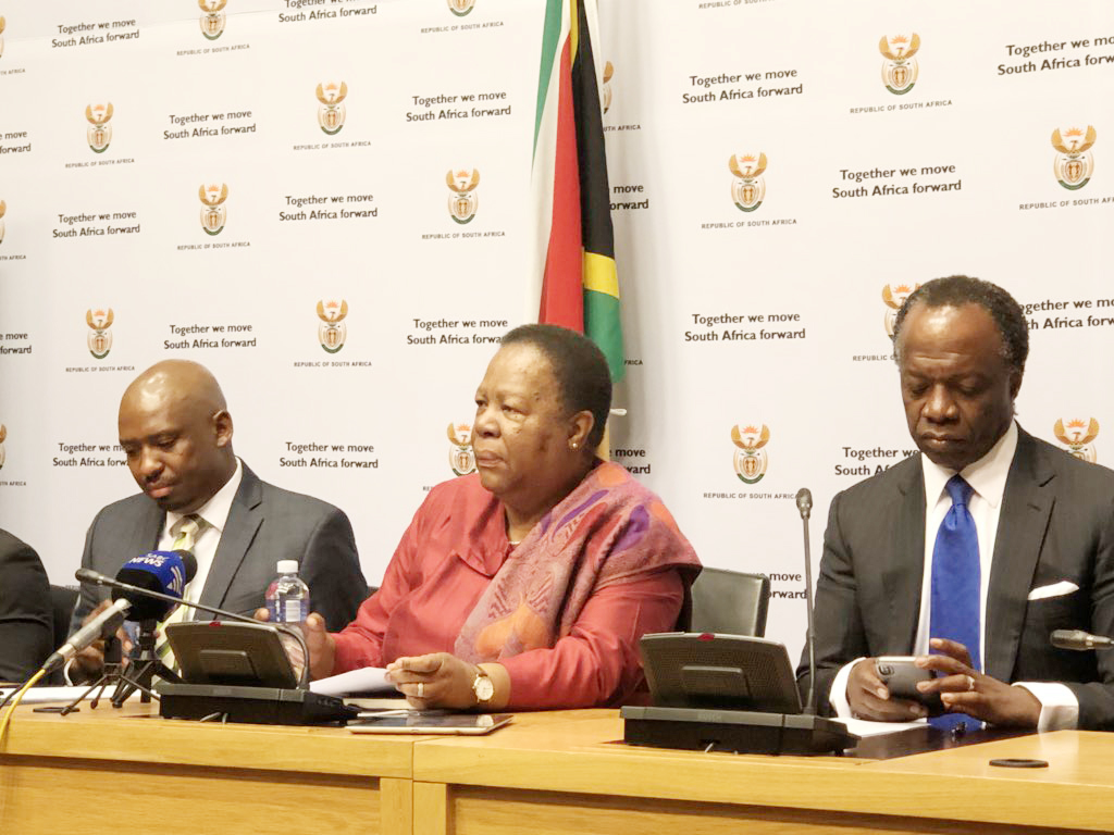 Minister Naledi Pandor and Deputy Minister of Higher Education and Training Buti Manamela (left) with NSFAS Chairperson Sizwe Nxasana.