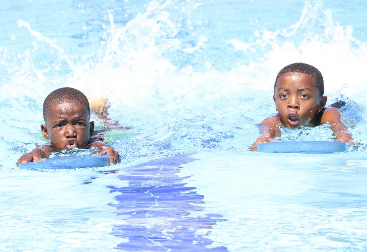 Local learners showcase their synchronised swimming skills which they learnt in the Save-A-Life Programme