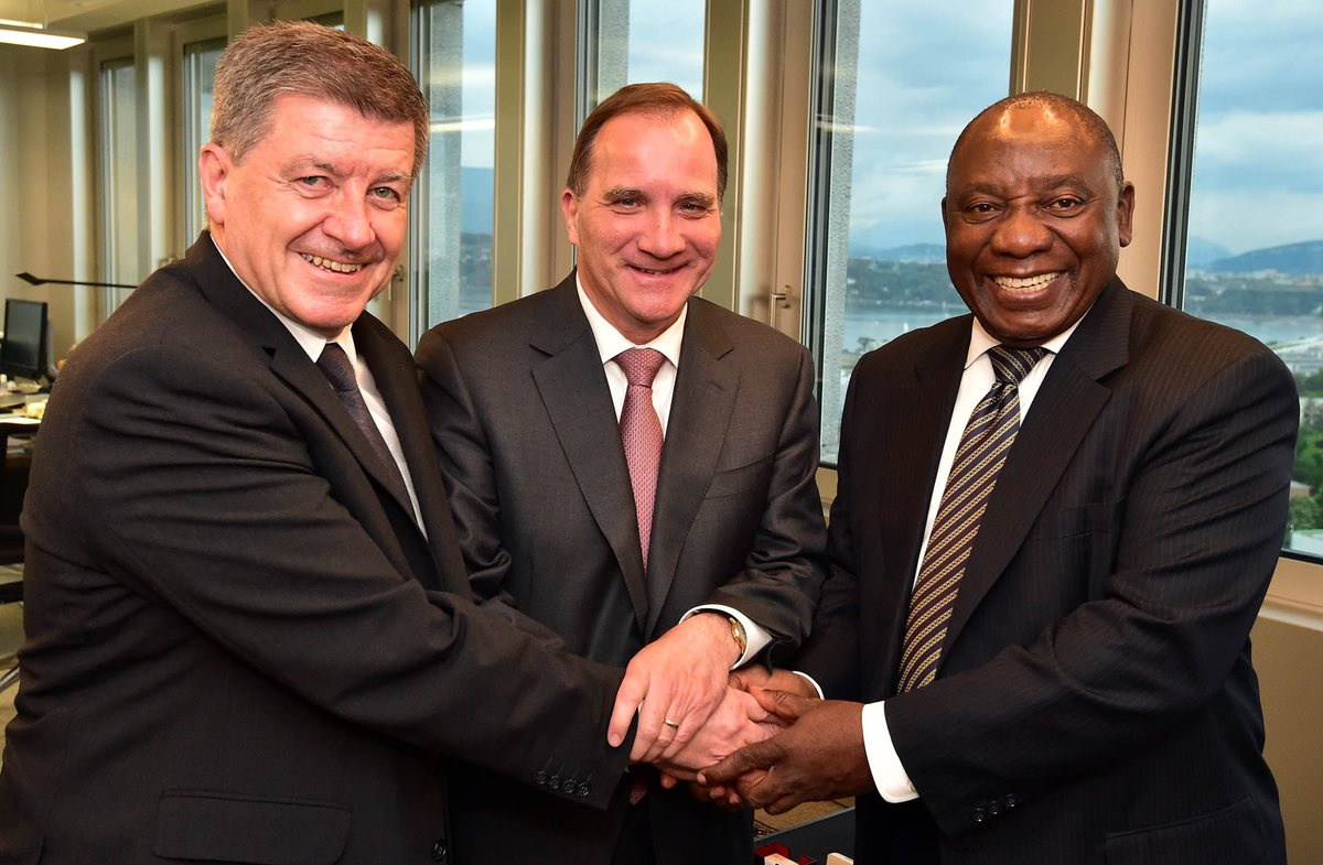 President Cyril Ramaphosa meeting with the Director-General of the International Labour Organisation (ILO) Guy Ryder (left) and Swedish Prime Minister Stefan Löfven (centre) at the ILO's Global Commission on the Future of Work in Geneva, Switzerland.